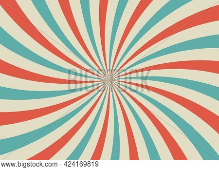 Sunlight Retro Horizontal Background. Blue And Red Color Burst Background. Vector Circus Illustratio
