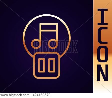 Gold Line Pause Button Icon Isolated On Black Background. Vector