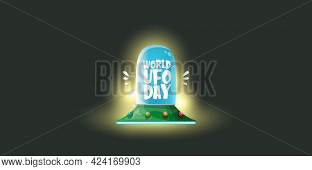 World Ufo Day Horizontal Banner With Flying With Cartoon Flying Saucer On Black Night Sky Background