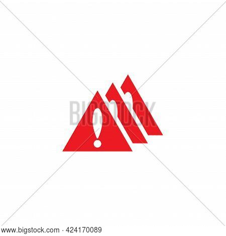 Three Orange Triangle With Black Exclamation Mark. Multiple Repeating Mistake Sign. Warning Icon. Is