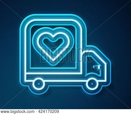 Glowing Neon Line Delivery Truck With Heart Icon Isolated On Blue Background. Love Delivery Truck. L