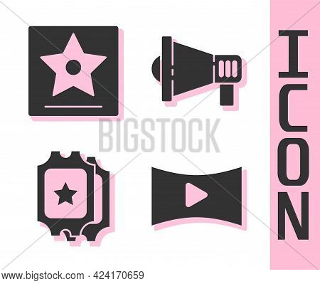 Set Online Play Video, Hollywood Walk Of Fame Star, Cinema Ticket And Megaphone Icon. Vector