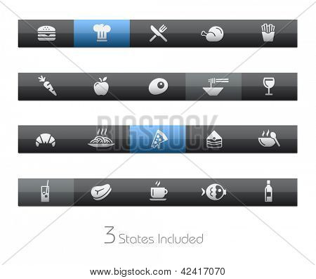 Food - Set 1 of 2 // Blackbar Series + It includes 3 buttons states in different layers. +