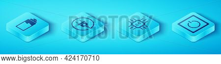 Set Isometric Battery Charge Level Indicator, Electric Plug, Electric Light Switch And Processor Wit