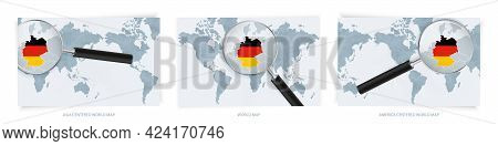 Blue Abstract World Maps With Magnifying Glass On Map Of Germany With The National Flag Of Germany.