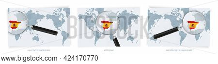 Blue Abstract World Maps With Magnifying Glass On Map Of Spain With The National Flag Of Spain. Thre