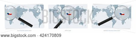Blue Abstract World Maps With Magnifying Glass On Map Of Czech Republic With The National Flag Of Cz