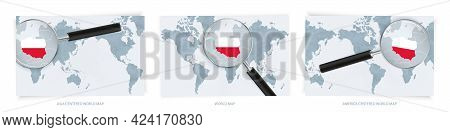 Blue Abstract World Maps With Magnifying Glass On Map Of Poland With The National Flag Of Poland. Th
