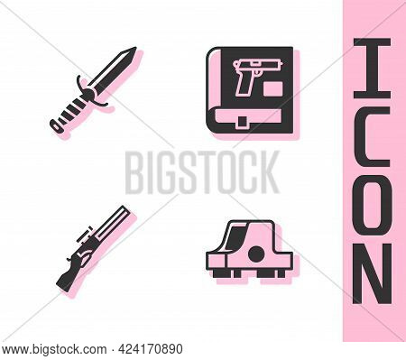 Set Collimator Sight, Military Knife, Hunting Gun And Book With Pistol Icon. Vector