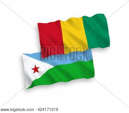 National Fabric Wave Flags Of Republic Of Djibouti And Guinea Isolated On White Background. 1 To 2 P