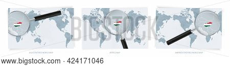 Blue Abstract World Maps With Magnifying Glass On Map Of Hungary With The National Flag Of Hungary.