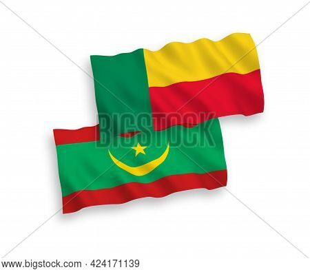 National Fabric Wave Flags Of Islamic Republic Of Mauritania And Benin Isolated On White Background.