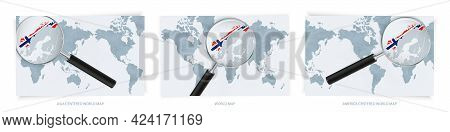 Blue Abstract World Maps With Magnifying Glass On Map Of Norway With The National Flag Of Norway. Th