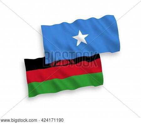 National Fabric Wave Flags Of Malawi And Somalia Isolated On White Background. 1 To 2 Proportion.