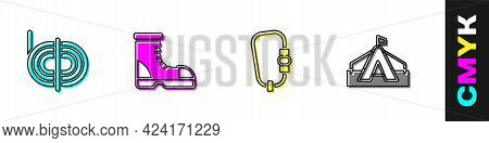 Set Climber Rope, Hunter Boots, Carabiner And Tourist Tent Icon. Vector