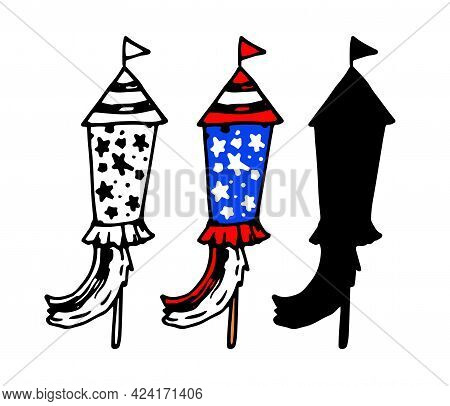 Vector Fireworks In The Shape Of A Rocket With A Flag And Ribbons With A Pattern Of Red And White St