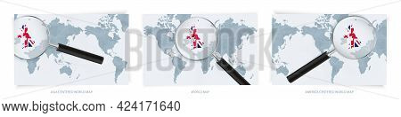 Blue Abstract World Maps With Magnifying Glass On Map Of United Kingdom With The National Flag Of Un