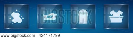 Set Water Spill, Temperature Wash, Trash Can And Basin With Shirt. Square Glass Panels. Vector