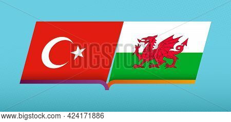Football Icon Of Turkey Versus Wales In Football Competition. Vector Icon.