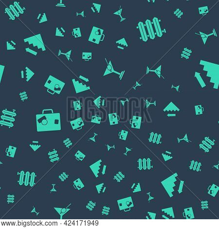 Set Martini Glass, Heating Radiator, Suitcase And Stairs Up On Seamless Pattern. Vector