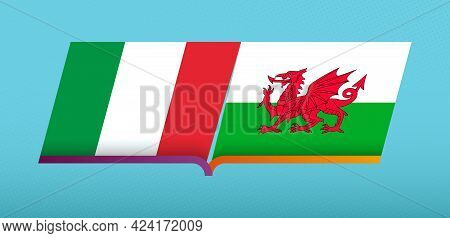 Football Icon Of Italy Versus Wales In Football Competition. Vector Icon.