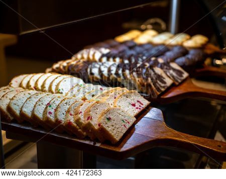 Assorted Plum Cakes On Dessert Buffet - Cakes Closeup