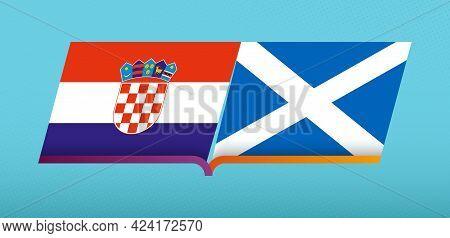 Football Icon Of Croatia Versus Scotland In Football Competition. Vector Icon.