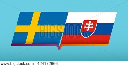 Football Icon Of Sweden Versus Slovakia In Football Competition. Vector Icon.