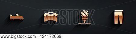 Set Golf Shoe, Sun Visor Cap, Ball On Tee And Pants Icon With Long Shadow. Vector