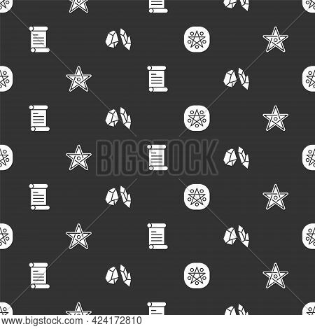 Set Pentagram In A Circle, , Decree, Parchment, Scroll And Magic Stone On Seamless Pattern. Vector
