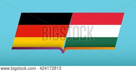 Football Icon Of Germany Versus Hungary In Football Competition. Vector Icon.
