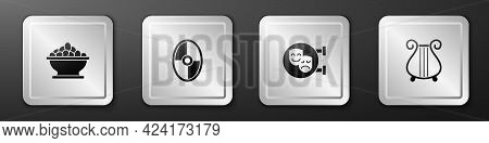 Set Olives In Bowl, Greek Shield, Comedy And Tragedy Masks And Ancient Lyre Icon. Silver Square Butt