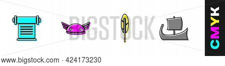 Set Decree, Parchment, Scroll, Helmet With Wings, Feather Pen And Greek Trireme Icon. Vector