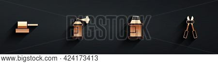 Set Spray Can Nozzle Cap, Paint Spray, Paint, Gouache, Jar, Dye And Bolt Cutter Icon With Long Shado