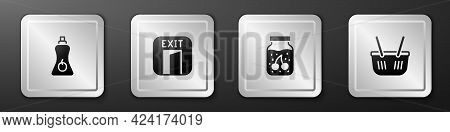 Set Sauce Bottle, Fire Exit, Jam Jar And Shopping Basket Icon. Silver Square Button. Vector