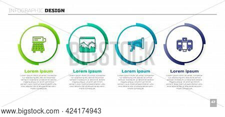 Set Retro Typewriter, Music Wave Equalizer, Megaphone And Actor Trailer. Business Infographic Templa