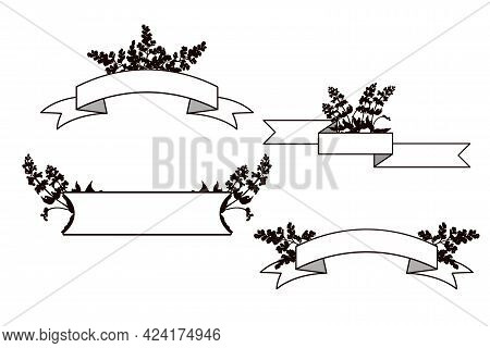 Horizontal Ribbon And Rectangular Banners With Flowers Silhouettes.