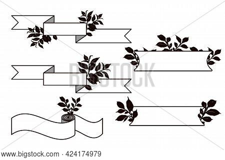 Set Of Horizontal Ribbon Banners With Leaves Silhouettes.