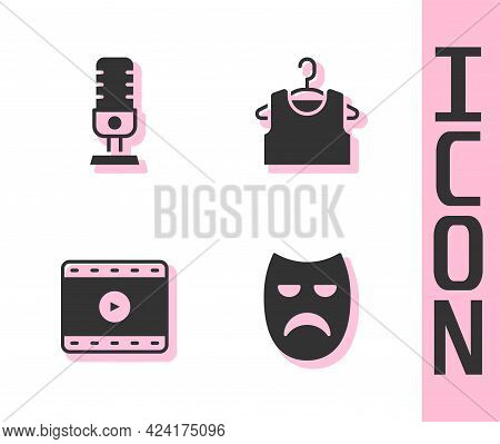 Set Drama Theatrical Mask, Microphone, Play Video And Sleeveless T-shirt Icon. Vector
