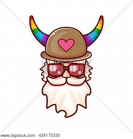 Funky Old Gay With Beard, Summer Sunglasses, And Funny Hat With Lgbt Rainbow Horns Isolated On White