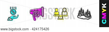 Set Coins On Hand - Minimal Wage, Peace, Gender Equality And Burning Car Icon. Vector