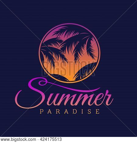 Letter Summer Paradise With Leaf Of Palm Tree. Vector Illustration Eps.8 Eps.10