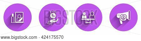 Set Mourning Photo Frame, Coins On Hand - Minimal Wage, Gender Equality And Peace Icon With Long Sha