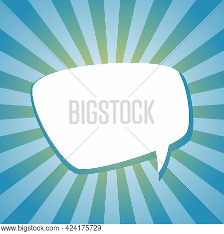 White Chat Speech Bubble On Sunlight Shining Blue Background. Talk, Chat Message, Comment, Communica