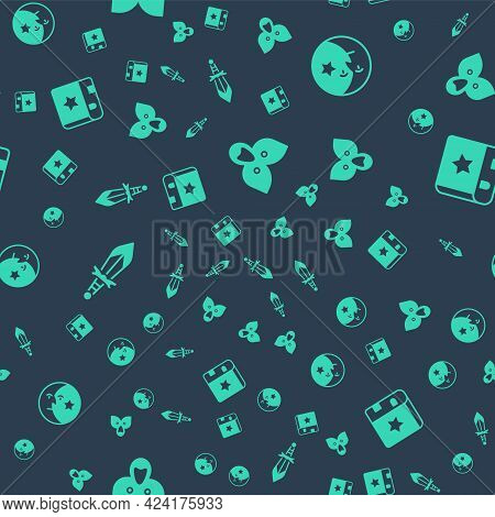 Set Mantle, Cloak, Cape, Moon And Stars, Medieval Sword And Ancient Magic Book On Seamless Pattern.