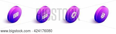 Set Isometric Drum Machine, Bitrate, Vinyl Disk And Disco Ball Icon. Vector