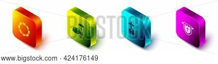 Set Isometric Crown Of Thorns, Goblet And Bread, Christian Cross And Flag With Christian Icon. Vecto
