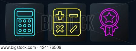 Set Line Calculator, Medal With Star And Calculator. Black Square Button. Vector