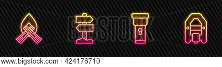 Set Line Flashlight, Campfire, Road Traffic Signpost And Rafting Boat. Glowing Neon Icon. Vector