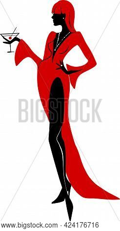 Elegant Silhouette Of Beautiful Woman With A Martini. Beautiful Silhouette For Stylish And Luxurious